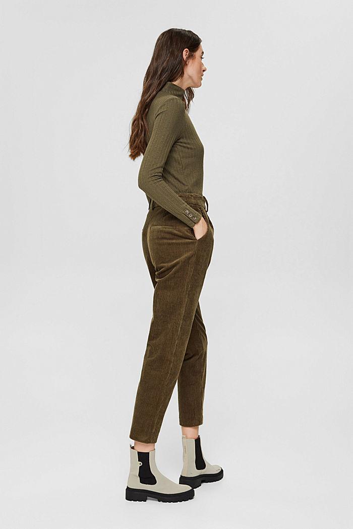 Pantalon en velours côtelé à braguette boutonnée, 100% coton, DARK KHAKI, detail image number 3