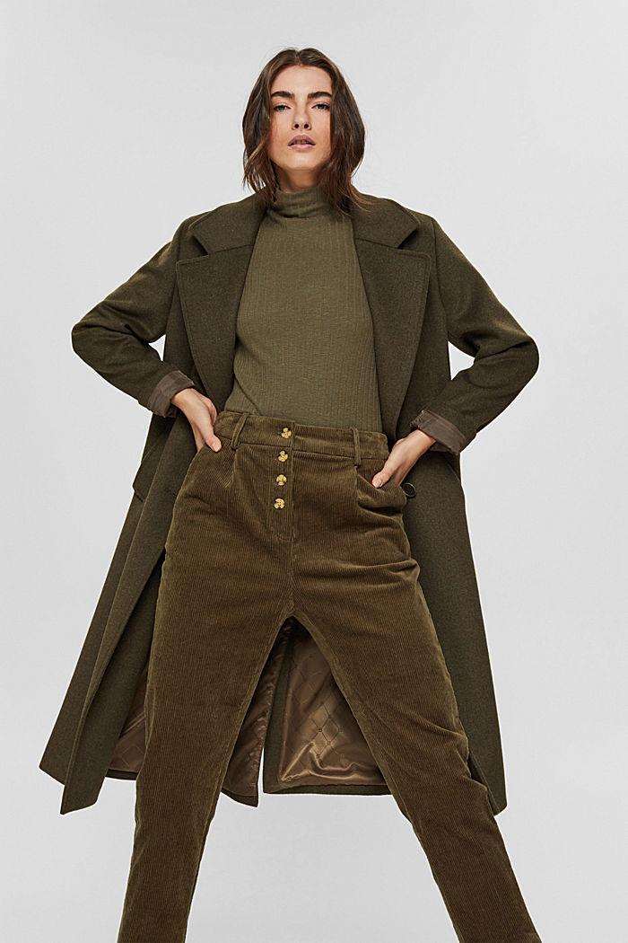 Pantalon en velours côtelé à braguette boutonnée, 100% coton, DARK KHAKI, detail image number 6