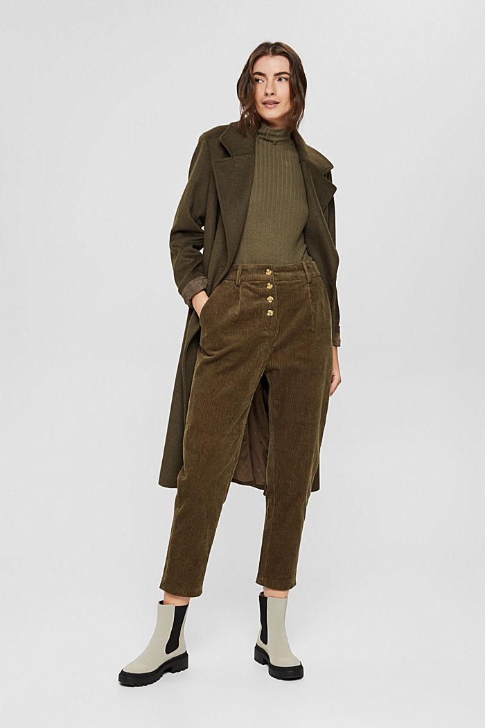 Pantalon en velours côtelé à braguette boutonnée, 100% coton, DARK KHAKI, detail image number 1