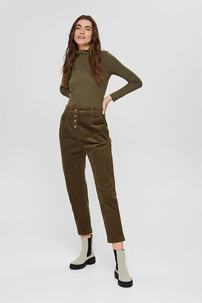 Pantalon en velours côtelé à braguette boutonnée, 100% coton, DARK KHAKI, detail image number 7