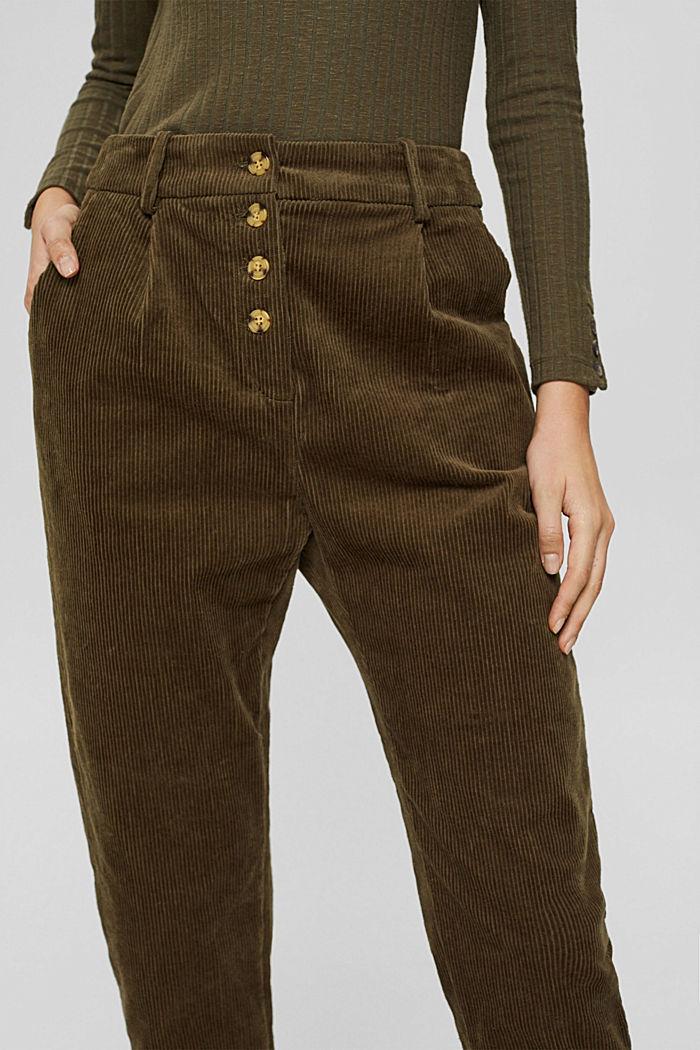 Pantalon en velours côtelé à braguette boutonnée, 100% coton, DARK KHAKI, detail image number 2