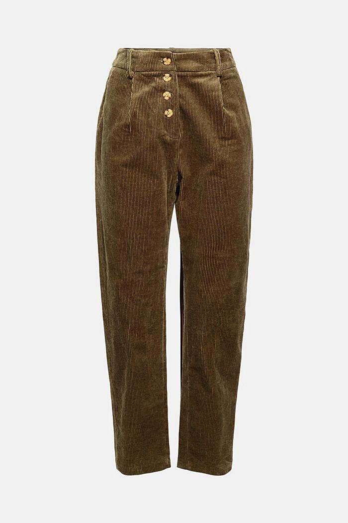 Pantalon en velours côtelé à braguette boutonnée, 100% coton, DARK KHAKI, detail image number 8