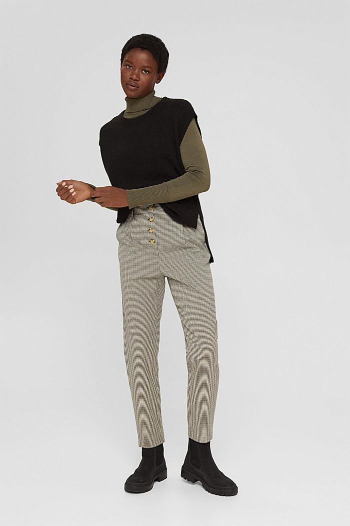 Bukser med hanefjedsmønster-tern og knapstolpe