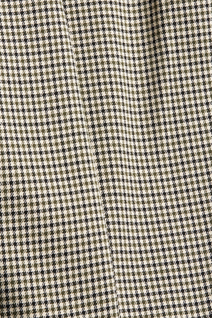 Broek met pied-de-poulemotief en knoopgulp, DARK KHAKI, detail image number 4
