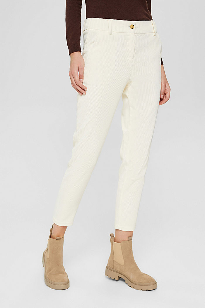 Recycelt: cropped Pull-on-Hose aus Cord, OFF WHITE, detail image number 0