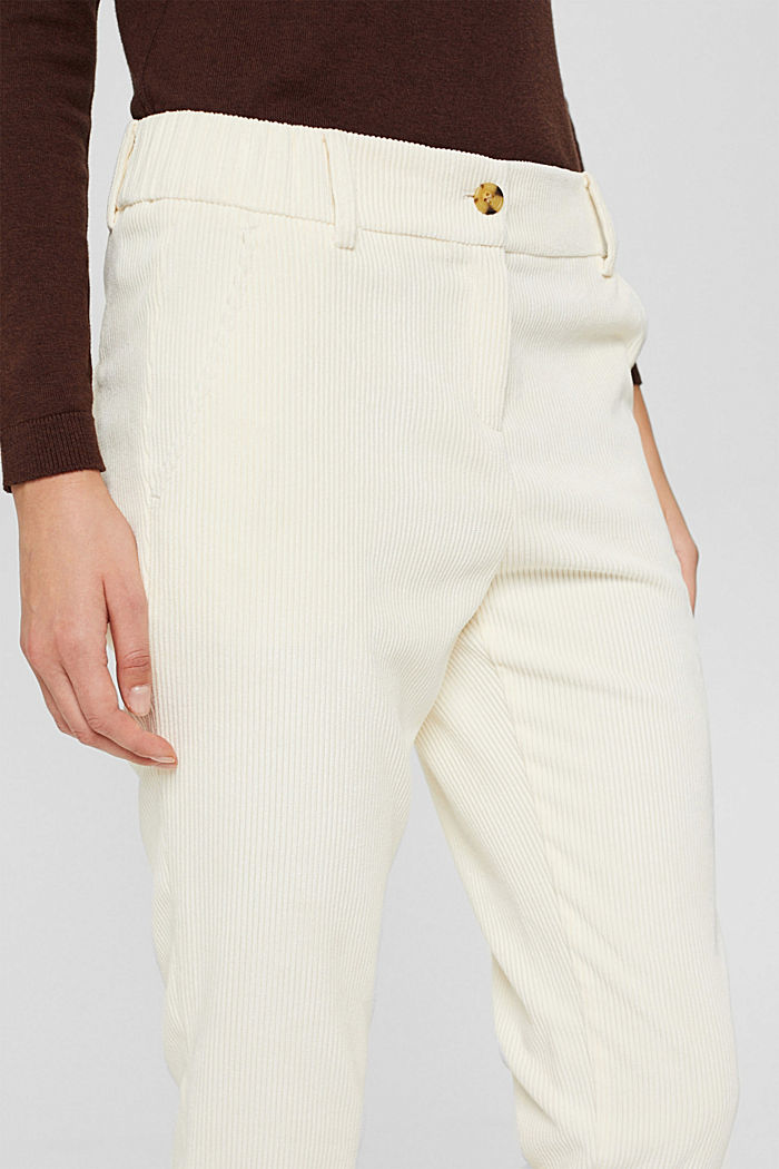 Recycelt: cropped Pull-on-Hose aus Cord, OFF WHITE, detail image number 2