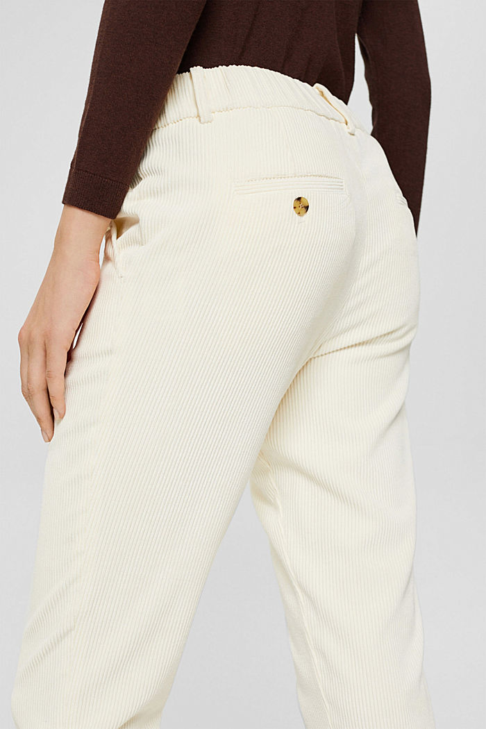 Recycelt: cropped Pull-on-Hose aus Cord, OFF WHITE, detail image number 5