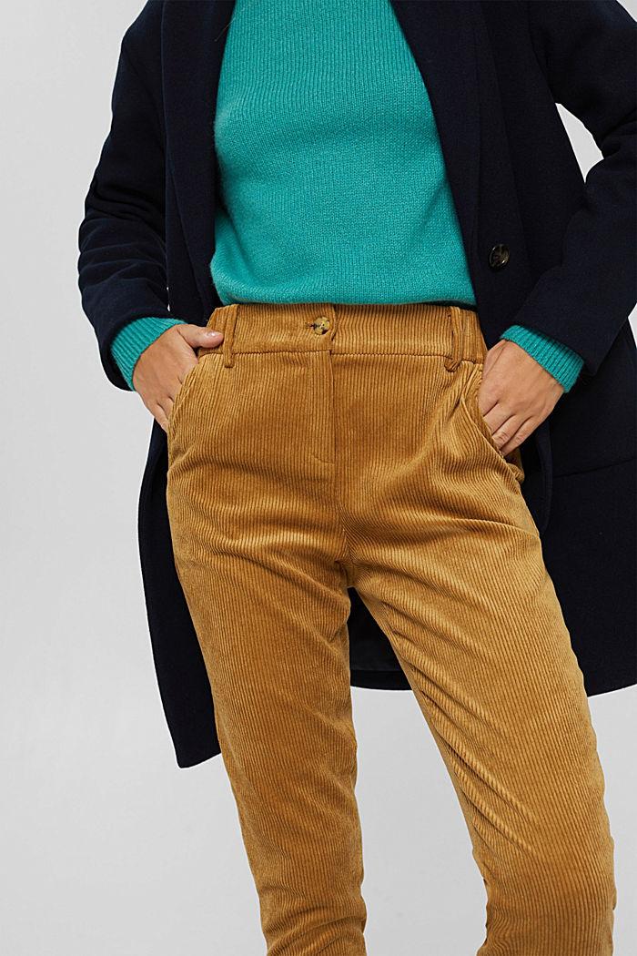 Gerecycled: cropped pull-on-broek van corduroy, CAMEL, detail image number 2