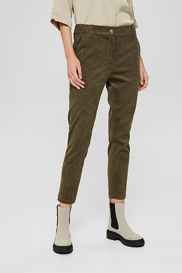 Recycled: cropped pull-on corduroy trousers, DARK KHAKI, detail image number 0