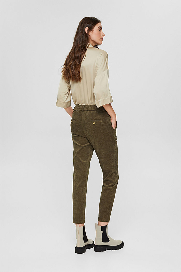 Recycled: cropped pull-on corduroy trousers, DARK KHAKI, detail image number 2