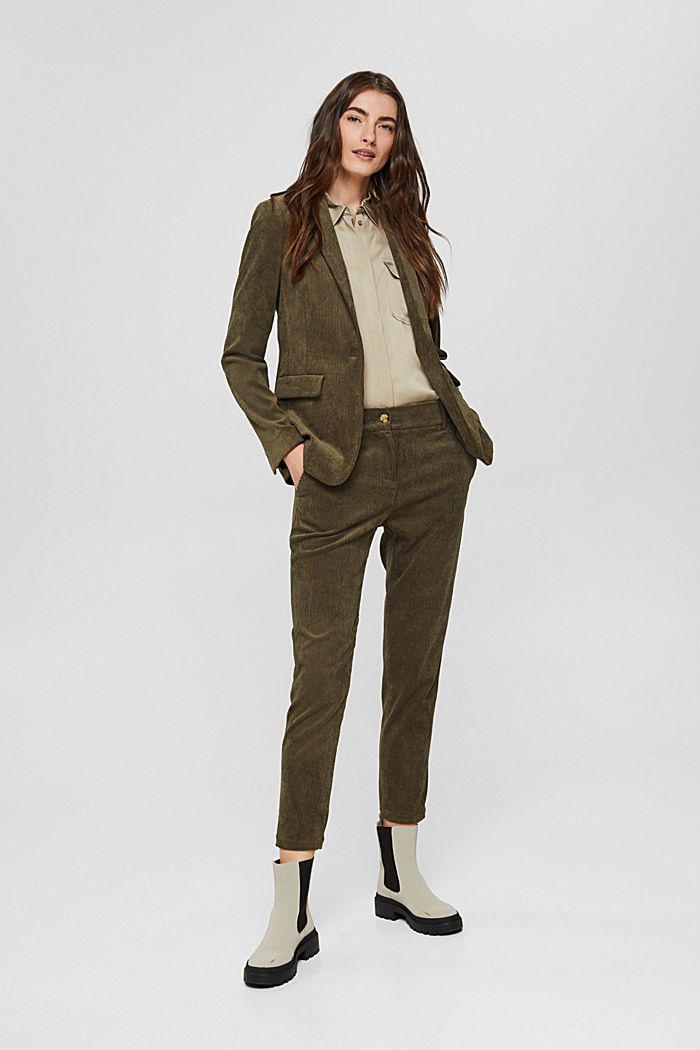 Recycled: cropped pull-on corduroy trousers, DARK KHAKI, detail image number 1