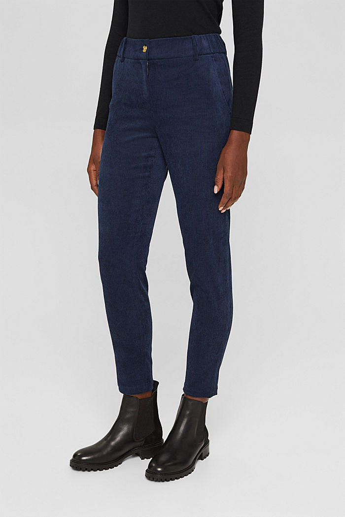 Recycelt: cropped Pull-on-Hose aus Cord, NAVY, detail image number 0