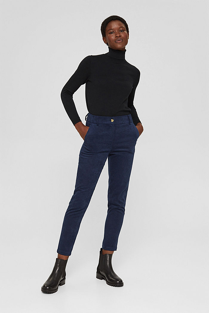 Recycelt: cropped Pull-on-Hose aus Cord, NAVY, detail image number 6