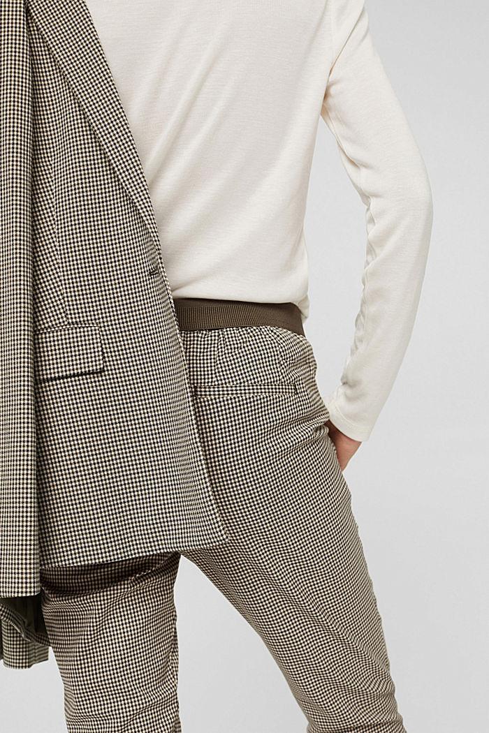 Pantalón tobillero con cuadros de pata de gallo, DARK KHAKI, detail image number 2