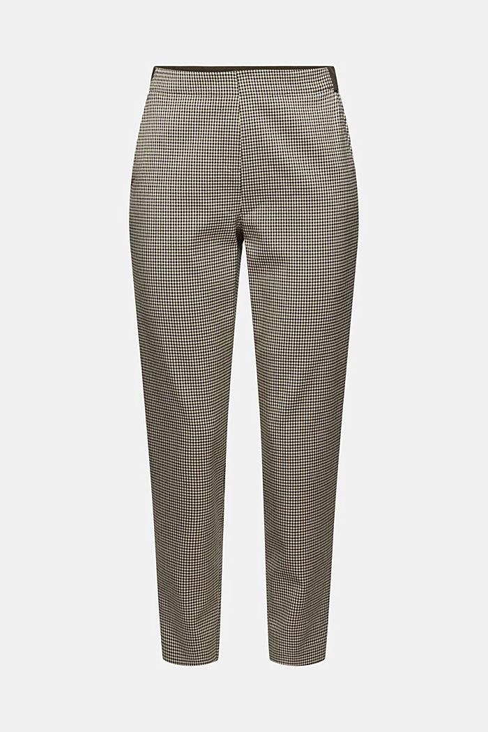 Pantalon stretch court à carreaux pied-de-poule