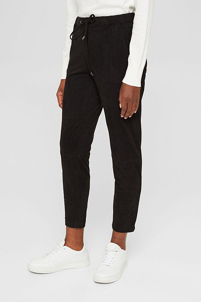 Jogg-Pants in Veloursleder-Optik, BLACK, detail image number 0