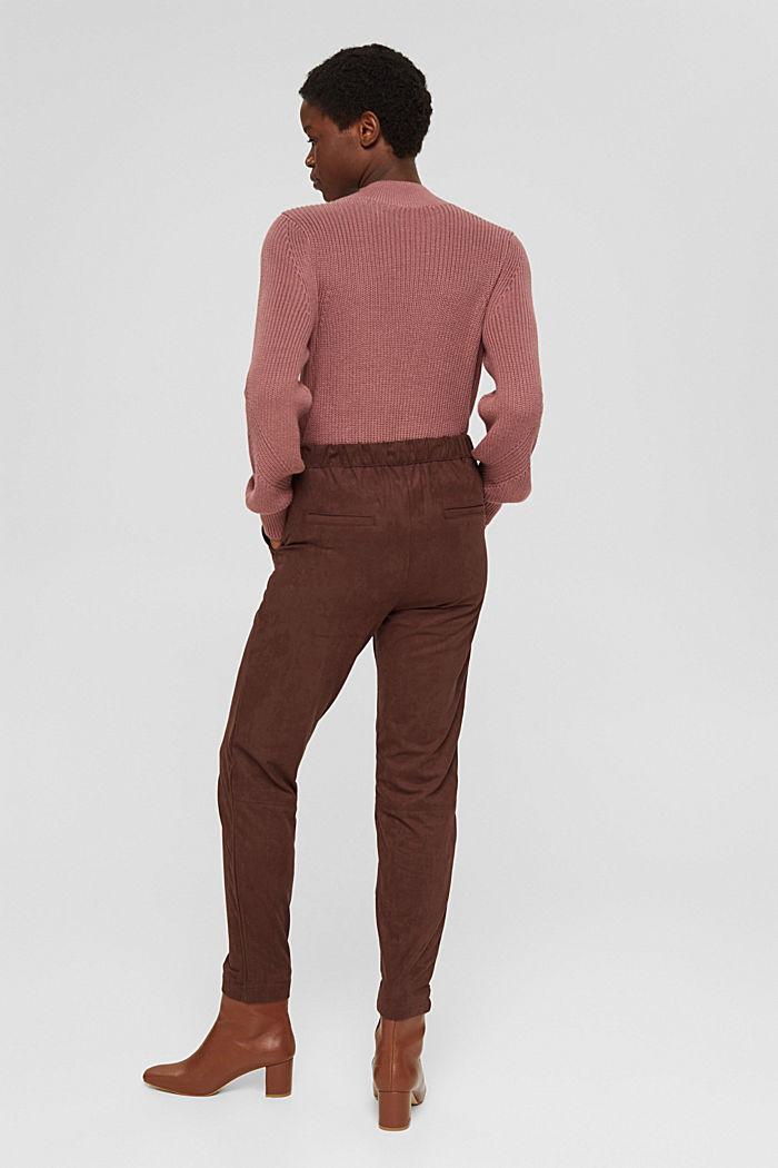 Jogg-Pants in Veloursleder-Optik, RUST BROWN, detail image number 3