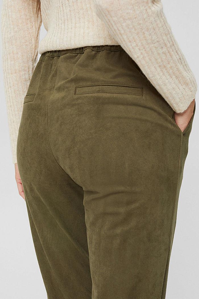 Jogg-Pants in Veloursleder-Optik, DARK KHAKI, detail image number 2