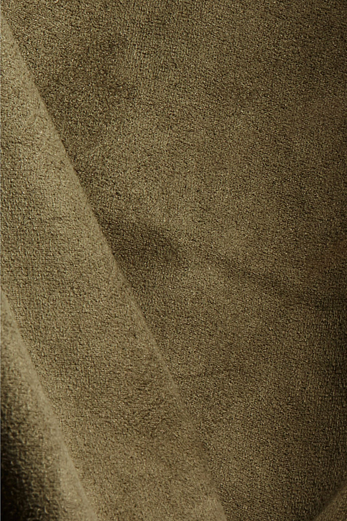 Jogg-Pants in Veloursleder-Optik, DARK KHAKI, detail image number 4