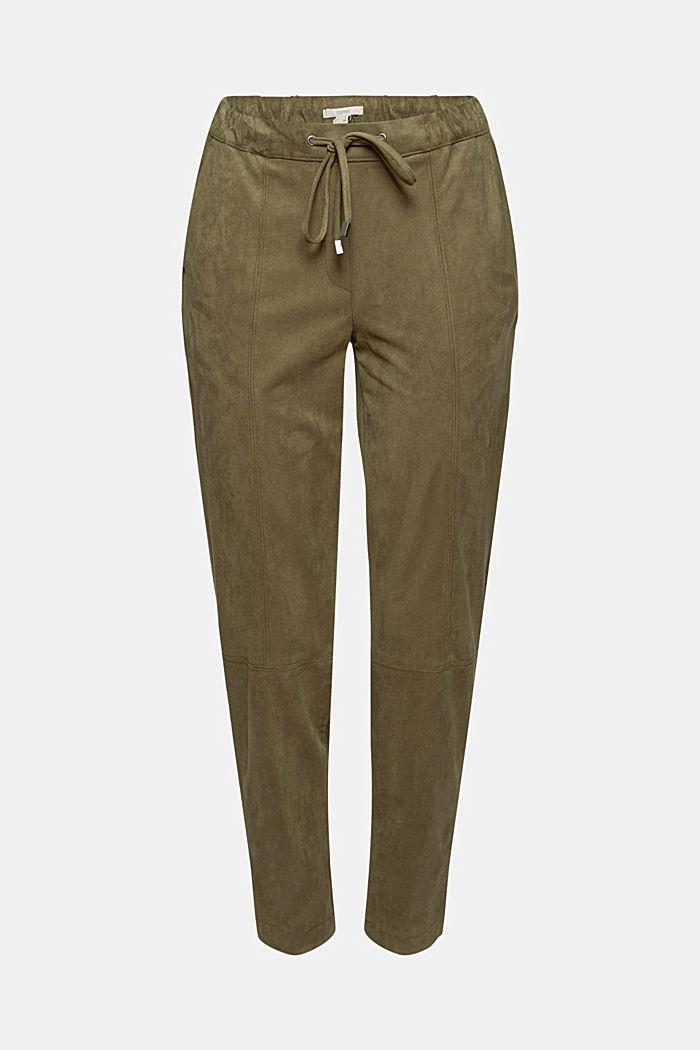 Jogg-Pants in Veloursleder-Optik, DARK KHAKI, detail image number 6