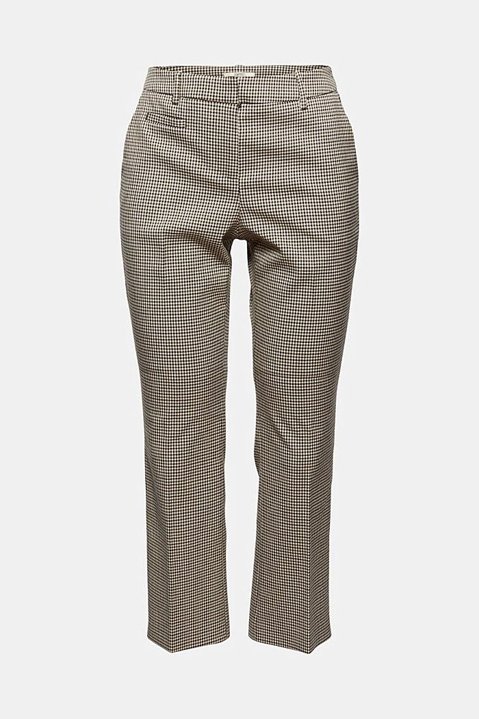 Cropped broek met kick flare en pied-de-poulemotief, DARK KHAKI, detail image number 7