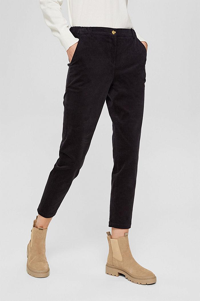 Pantalon à enfiler de style chino en fin velours, BLACK, detail image number 0