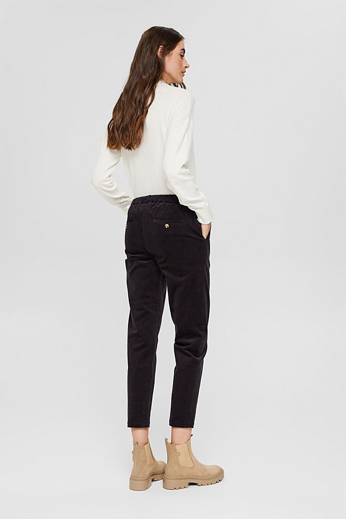 Pantalon à enfiler de style chino en fin velours, BLACK, detail image number 3