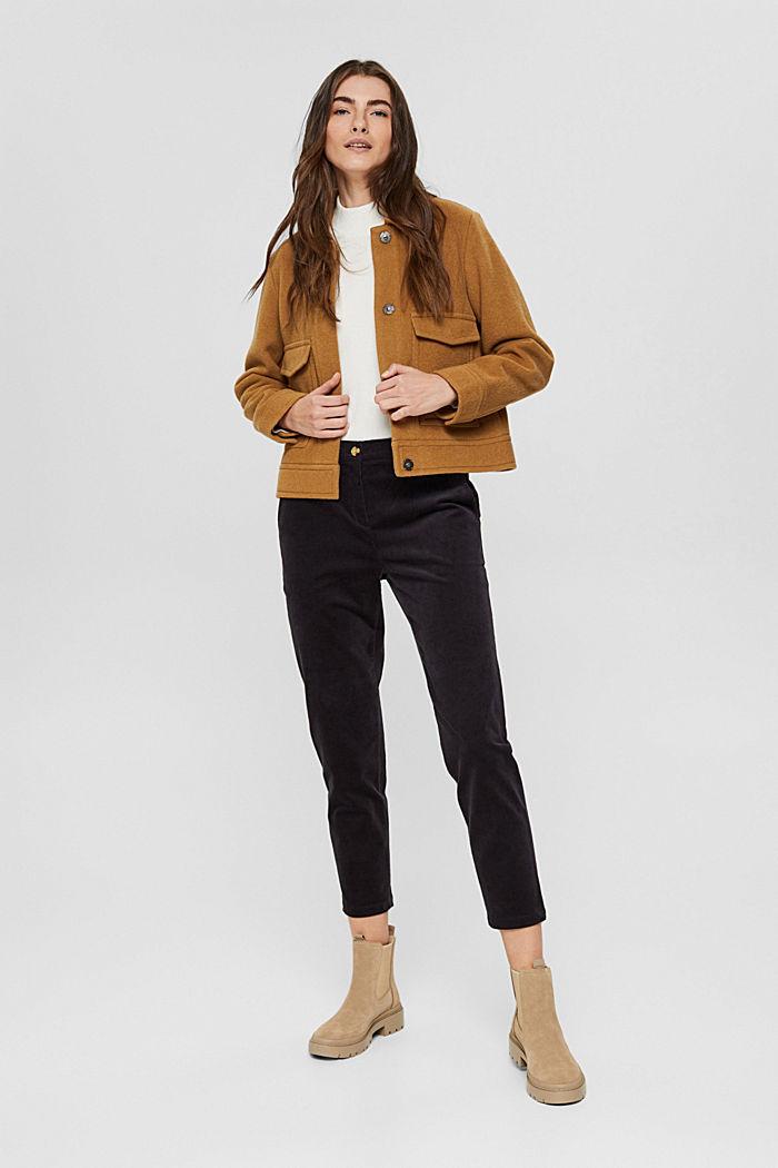 Pantalon à enfiler de style chino en fin velours, BLACK, detail image number 1