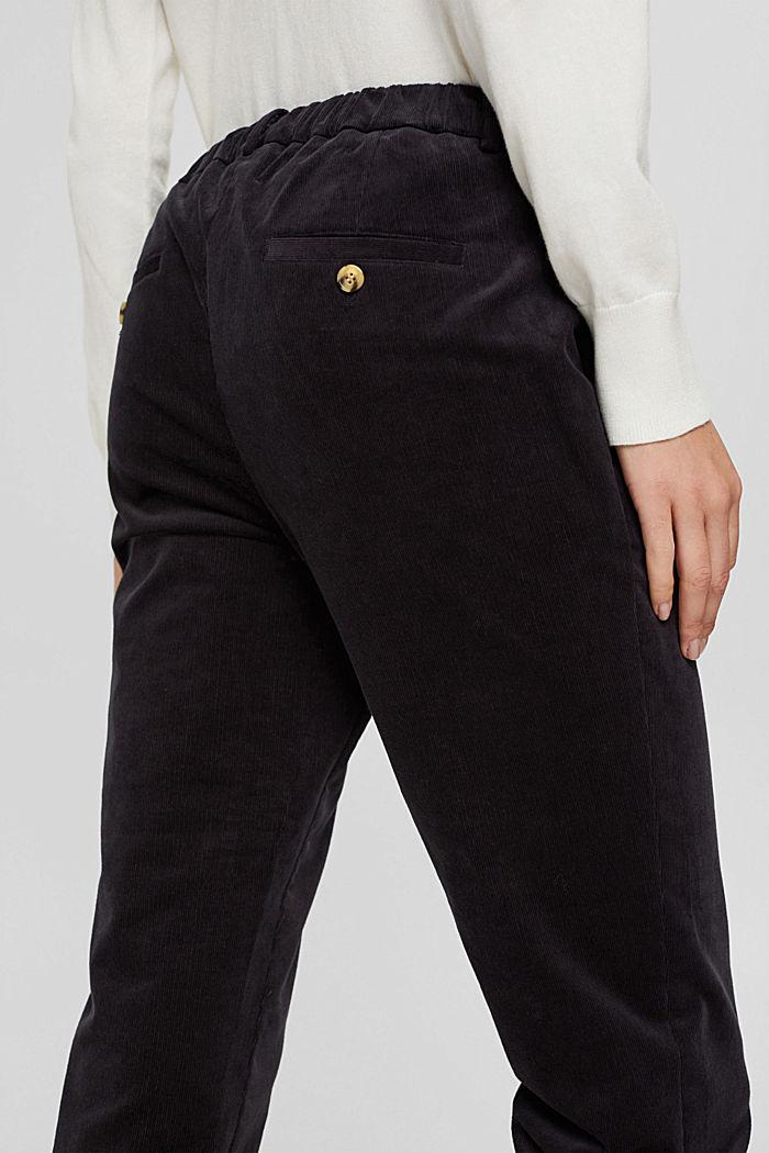 Pantalon à enfiler de style chino en fin velours, BLACK, detail image number 5