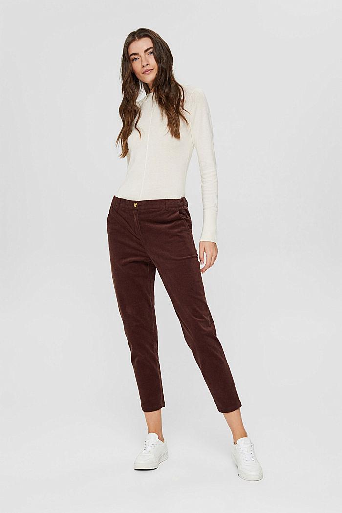 Pantalon à enfiler de style chino en fin velours, RUST BROWN, detail image number 6