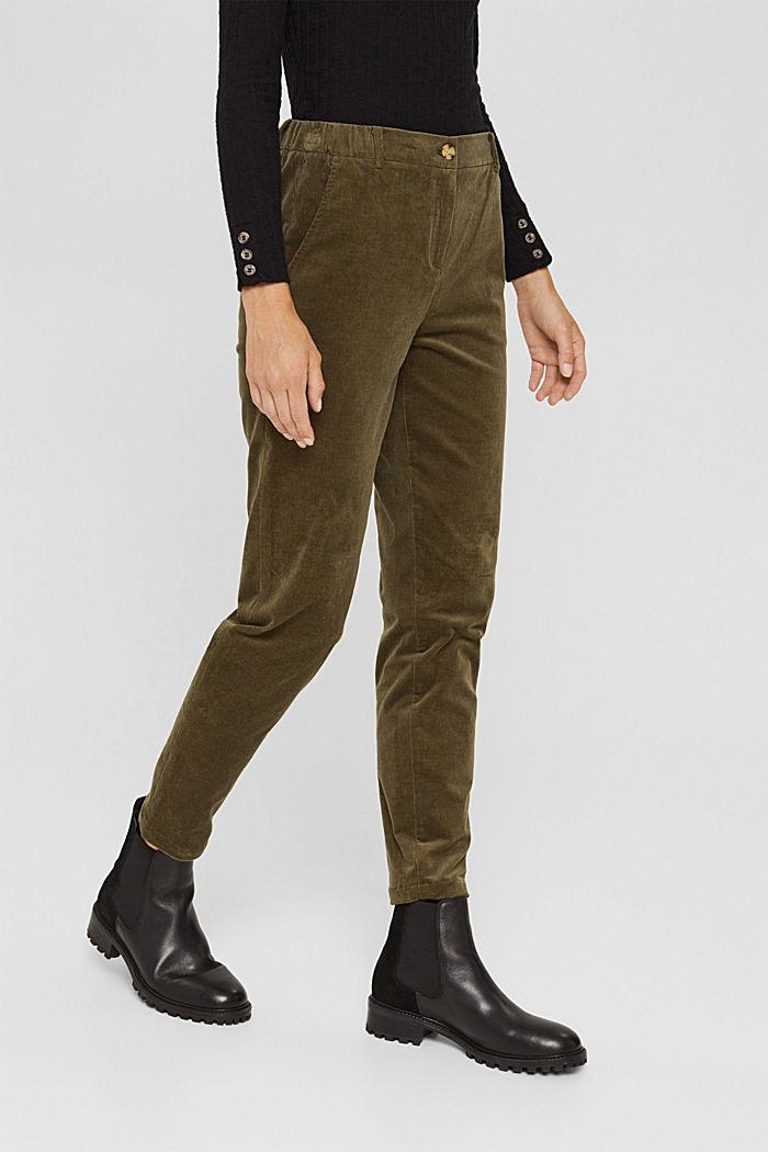 Pull-on-broek in chinostijl van fijn corduroy, DARK KHAKI, detail image number 0