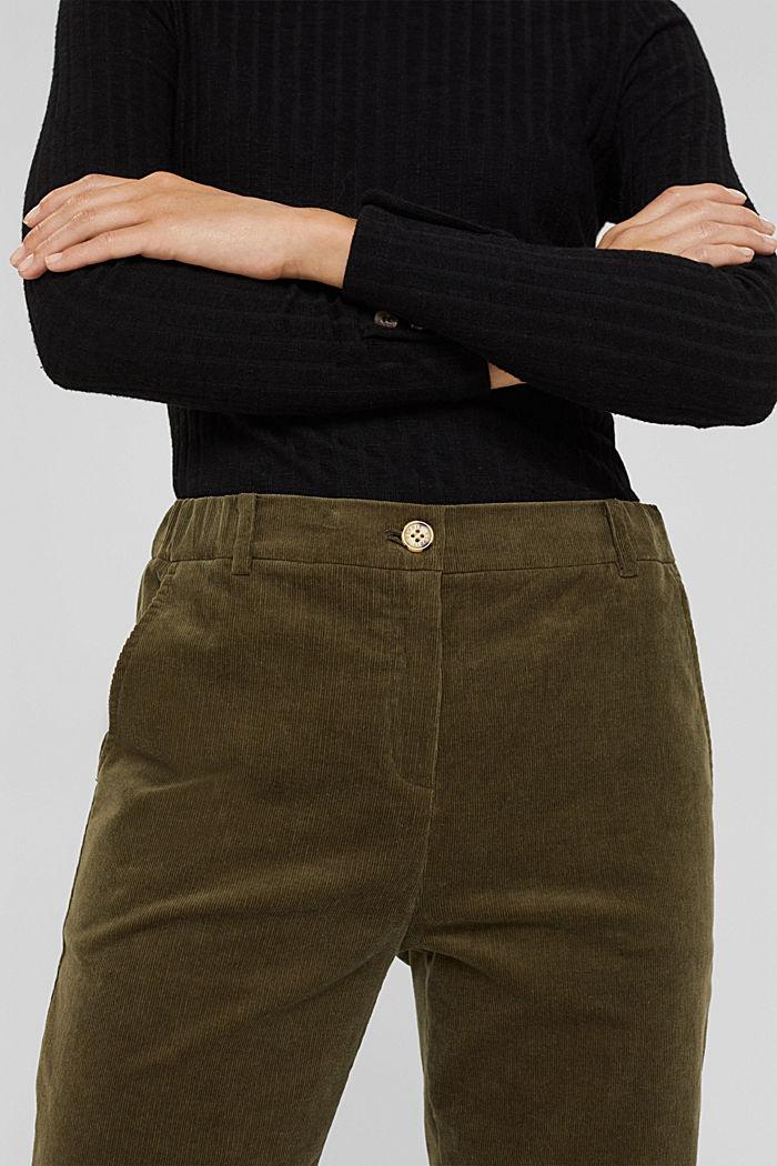 Pull-on-broek in chinostijl van fijn corduroy, DARK KHAKI, detail image number 2