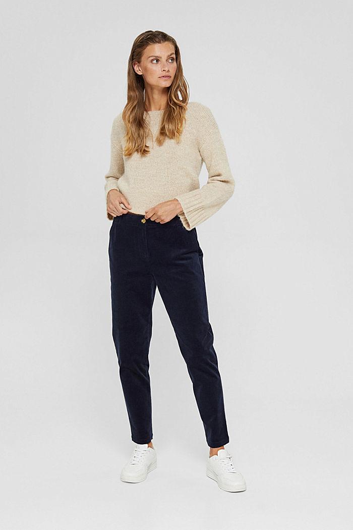 Wsuwane spodnie w stylu chinosów z cienkiego sztruksu