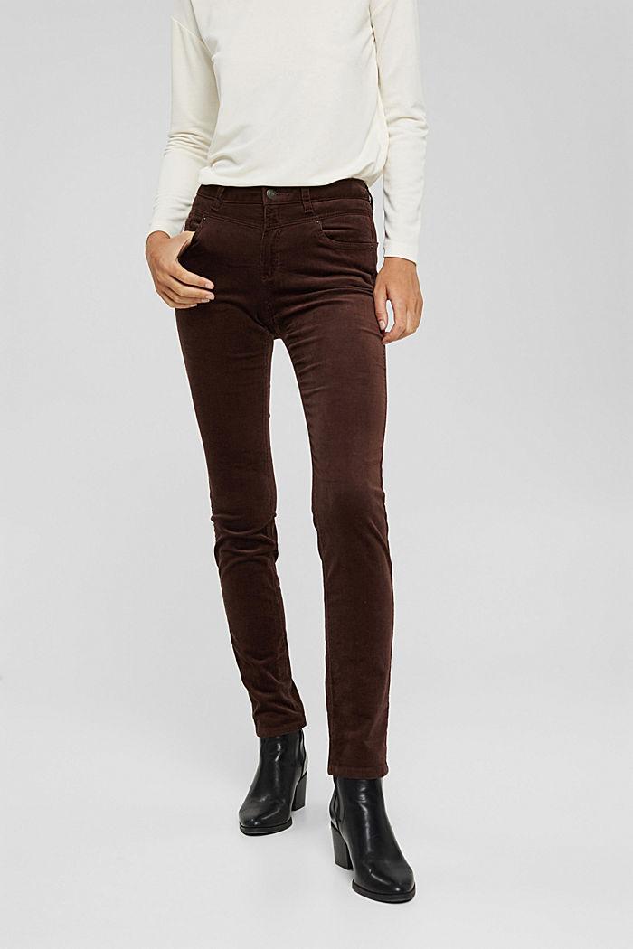 Pantalon en fin velours de coton mélangé, RUST BROWN, detail image number 0