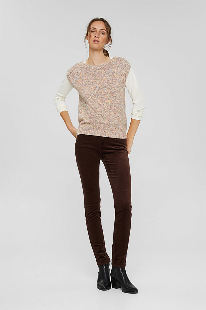 Pantalon en fin velours de coton mélangé, RUST BROWN, detail image number 1