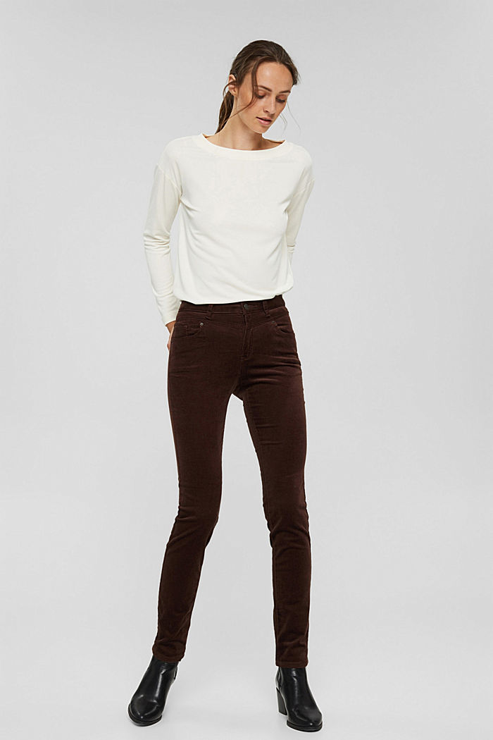 Pantalon en fin velours de coton mélangé, RUST BROWN, detail image number 7