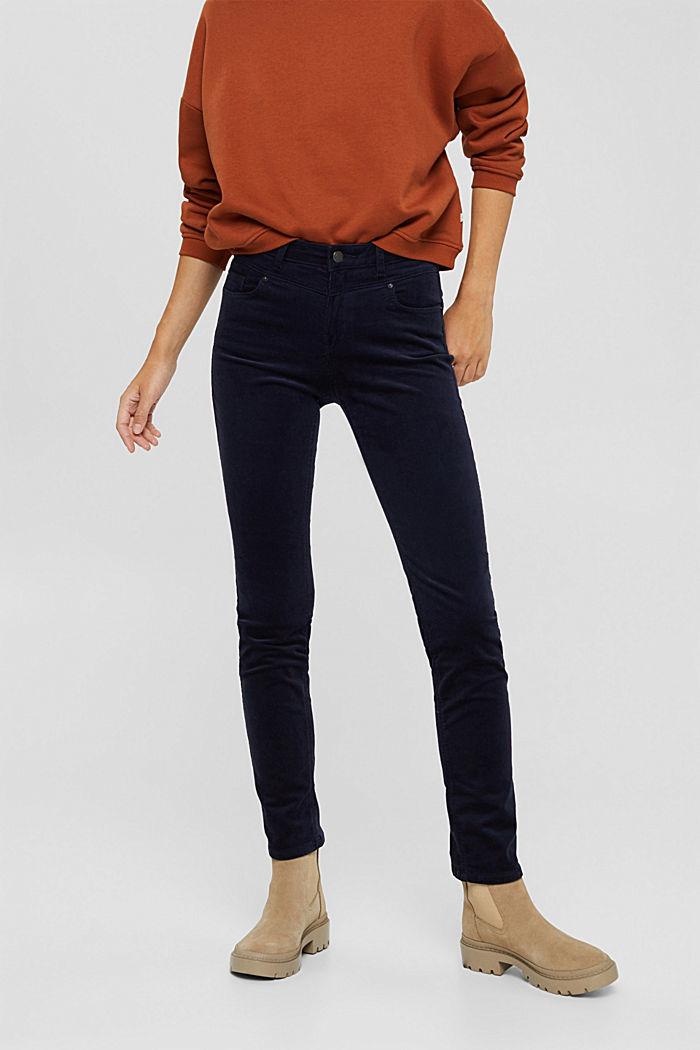 Pantalon en fin velours de coton mélangé, NAVY, detail image number 0