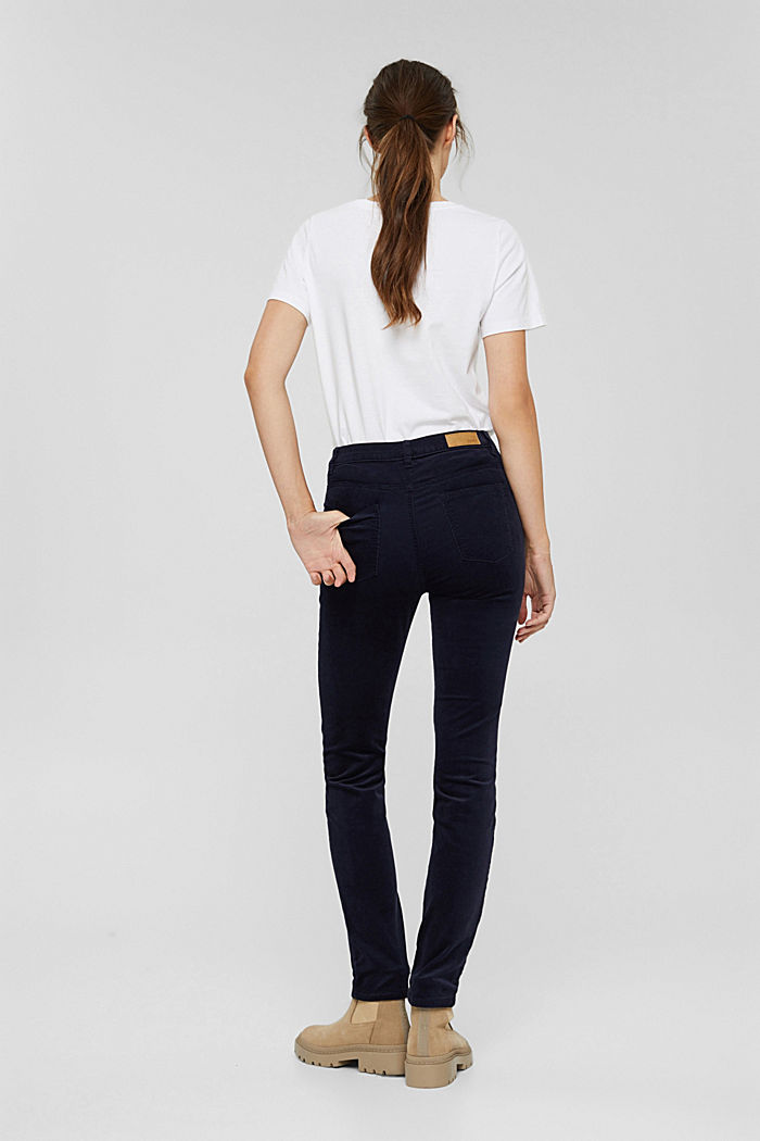 Pantalon en fin velours de coton mélangé, NAVY, detail image number 3