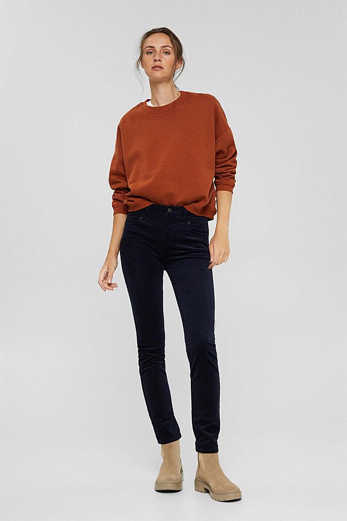 Pantalon en fin velours de coton mélangé, NAVY, detail image number 1