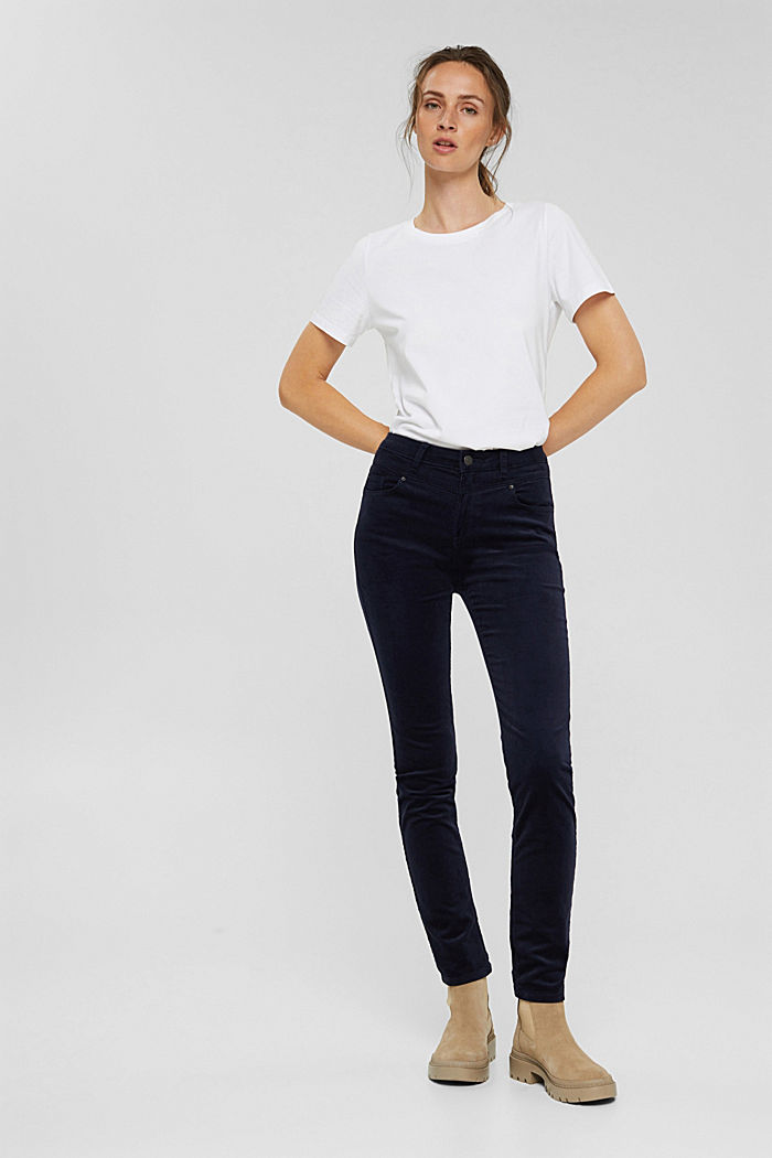 Pantalon en fin velours de coton mélangé, NAVY, detail image number 6