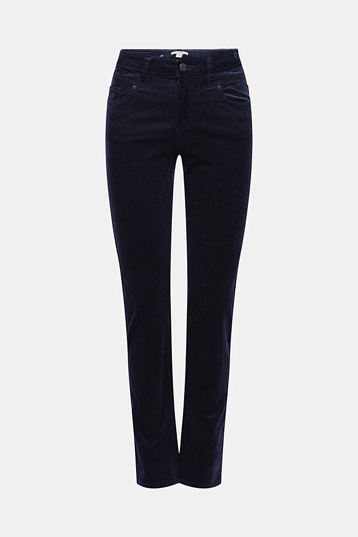 Pantalon en fin velours de coton mélangé, NAVY, detail image number 7