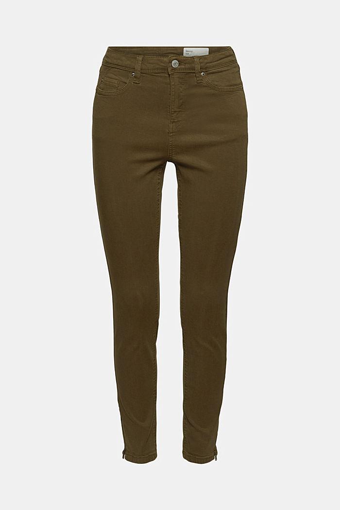 Knöchellange Hose mit Saum-Zippern, DARK KHAKI, detail image number 7