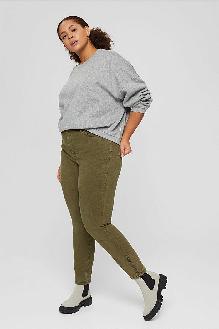 CURVY Stretch-Jeans mit Zipper-Detail, DARK KHAKI, detail image number 0