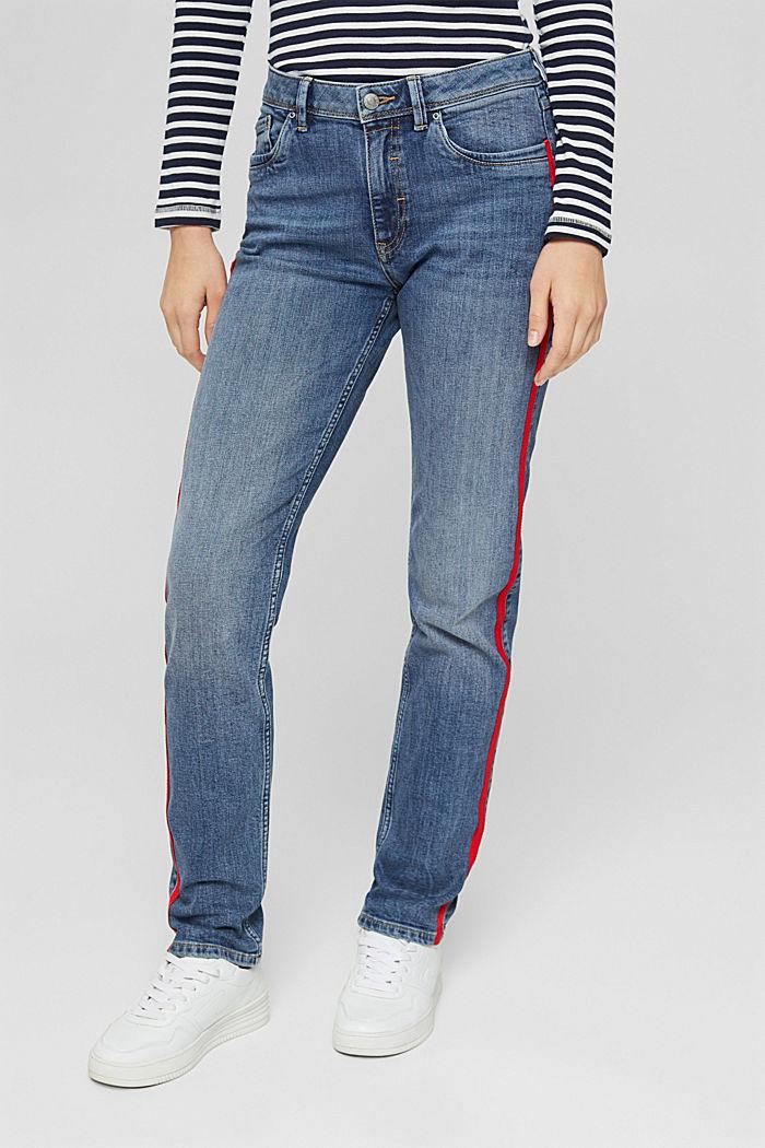 Stretch-Jeans mit Kontraststreifen, BLUE MEDIUM WASHED, detail image number 0