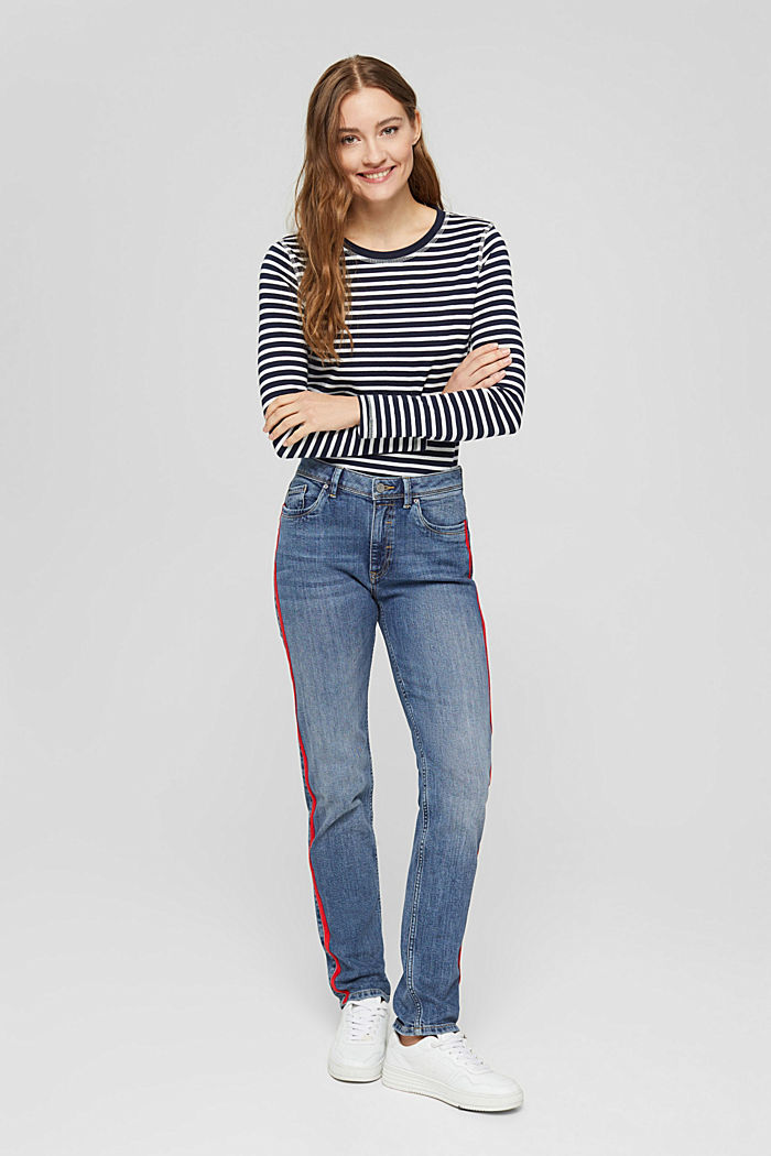 Stretch-Jeans mit Kontraststreifen, BLUE MEDIUM WASHED, detail image number 1