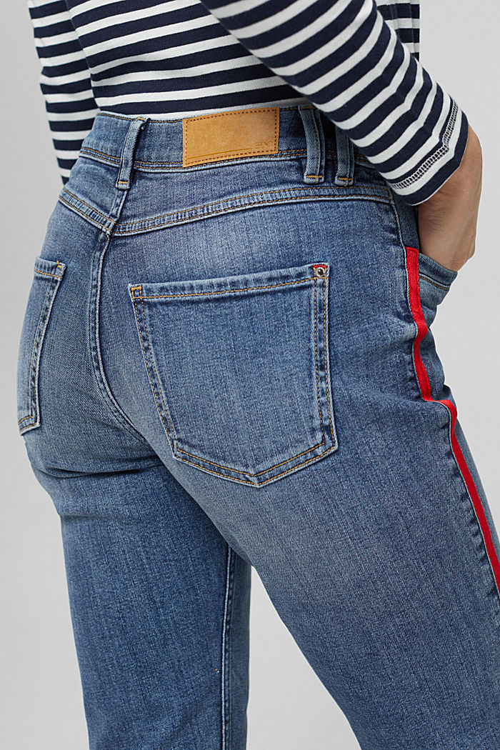 Stretch-Jeans mit Kontraststreifen, BLUE MEDIUM WASHED, detail image number 2
