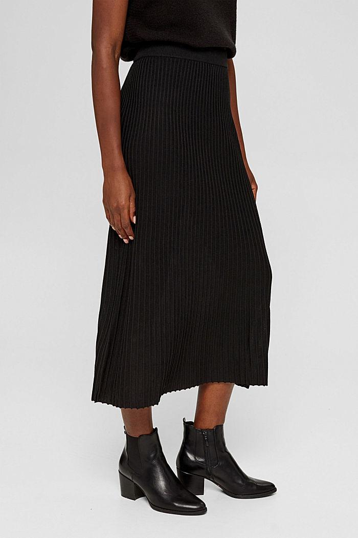 En matière recyclée: la jupe maxi longueur à la texture côtelée, BLACK, detail image number 0