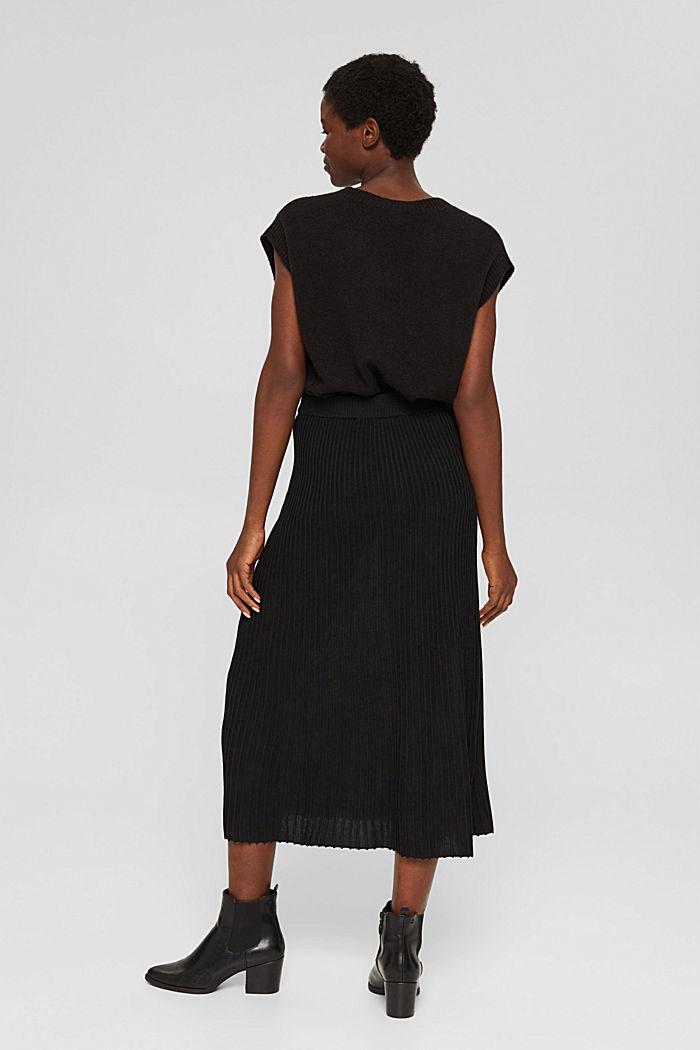 En matière recyclée: la jupe maxi longueur à la texture côtelée, BLACK, detail image number 3