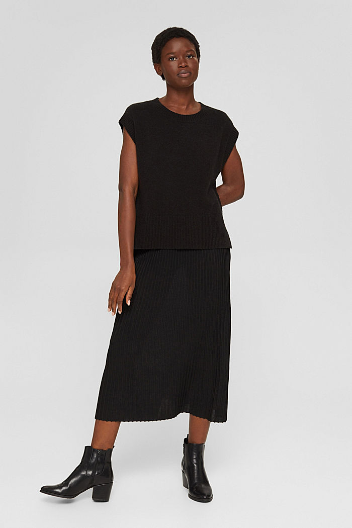 En matière recyclée: la jupe maxi longueur à la texture côtelée, BLACK, detail image number 5