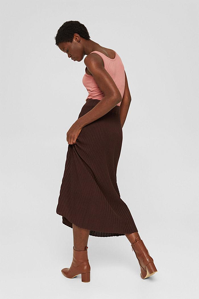En matière recyclée: la jupe maxi longueur à la texture côtelée, RUST BROWN, detail image number 3